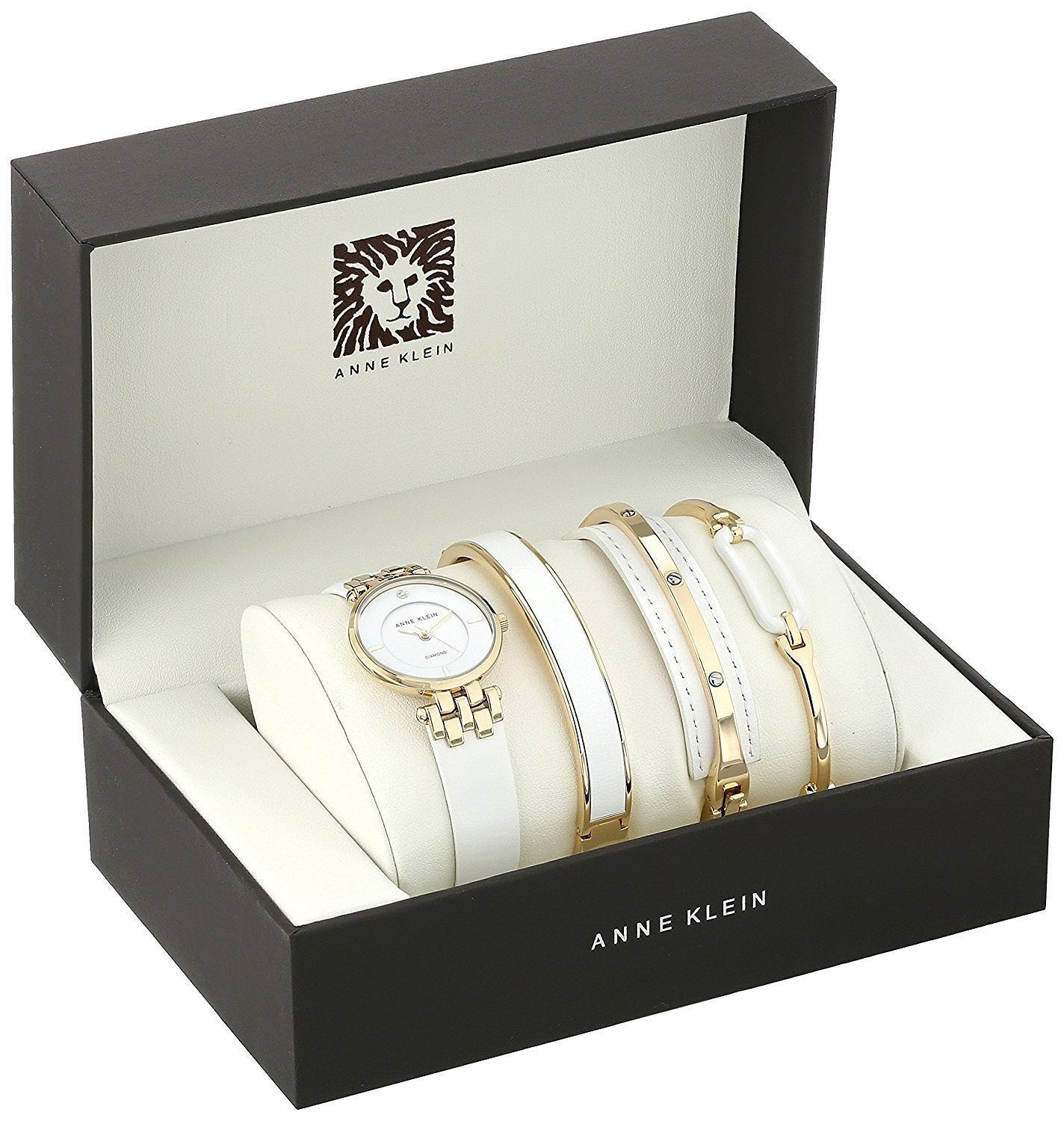 Anne Klein AK-2684WTST Diamond-Accented Gold-Tone & White Leather Set for Women - Watchportal Philippines