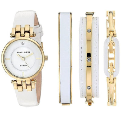 Anne Klein AK-2684WTST Diamond-Accented Gold-Tone & White Leather Set Watch for Women - Watchportal Philippines