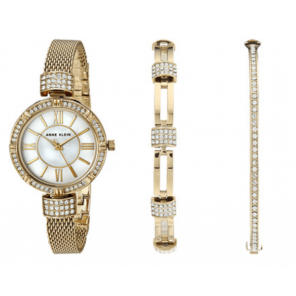 Anne Klein AK-2844GBST Gold Tone Mesh and Bracelet Set Watch for Women - Watchportal Philippines