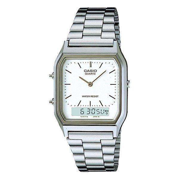 Casio Vintage Unisex Silver Stainless Steel Strap Watch- AQ-230A-7D- (One Size) - For Men and Women - Watchportal Philippines