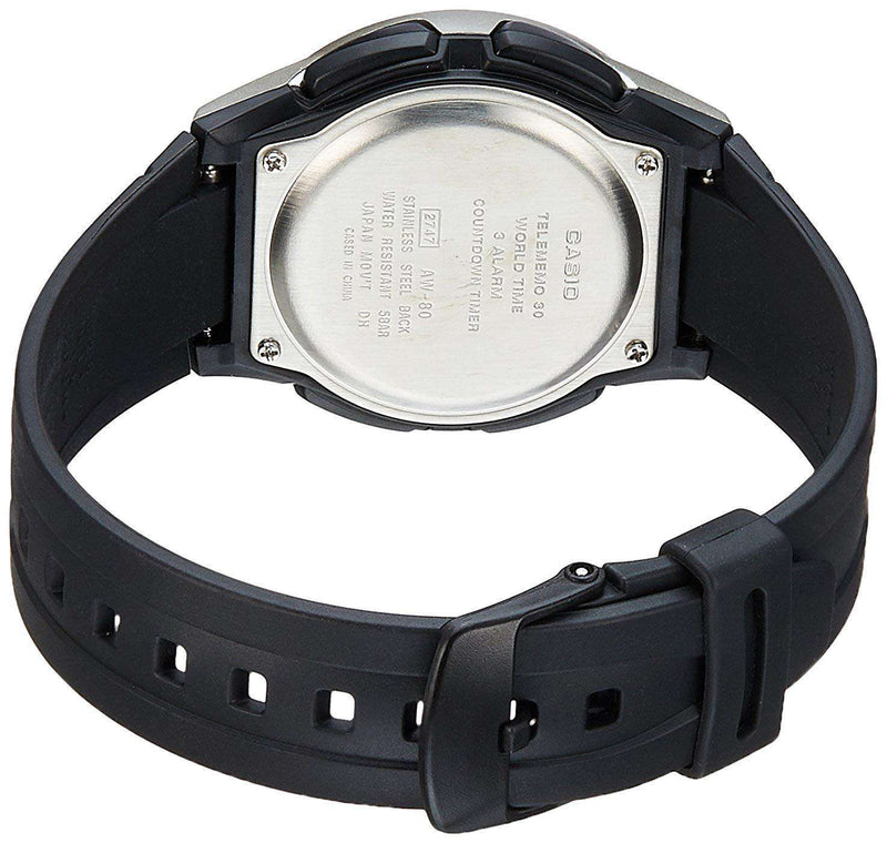 Casio Standard AW-80-1A Black/Silver Resin Strap Watch for Men