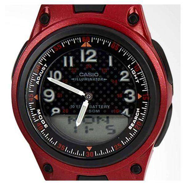 Casio Standard AW-80-4BVDF Red Dial/ Black Resin Strap Watch for Men