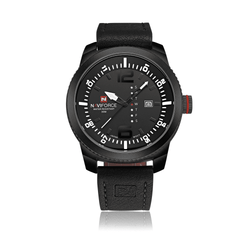 Naviforce NF9063-BWB Leather Strap Mens Watch