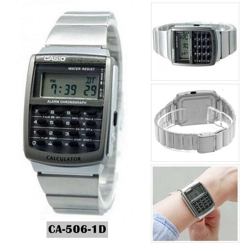 Casio CA-506-1D Silver Stainless Calculator Watch for Men and Women