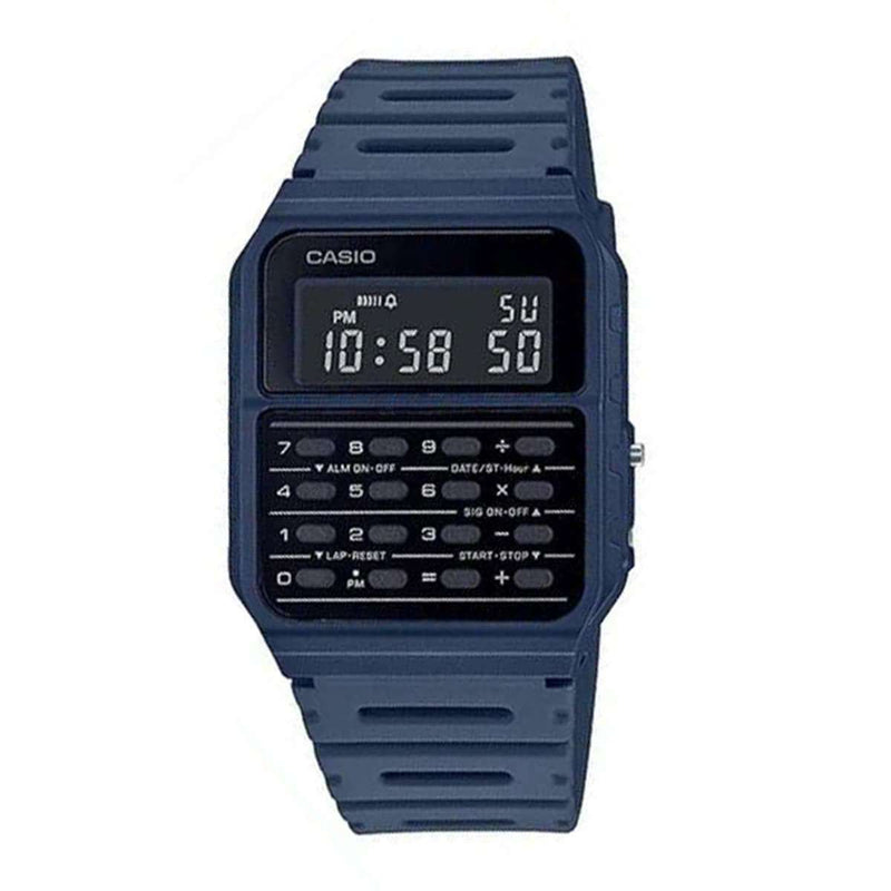 Casio CA-53WF-2B Navy Blue Calculator Resin Watch for Men and Women