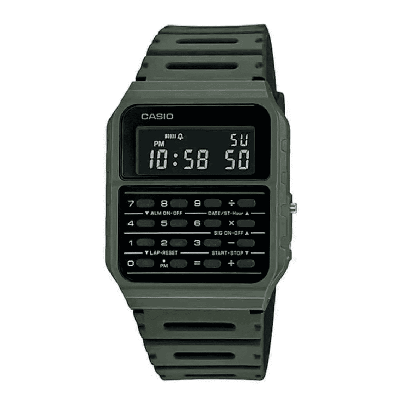 Casio CA-53WF-3B Army Green Calculator Resin Watch for Men and Women