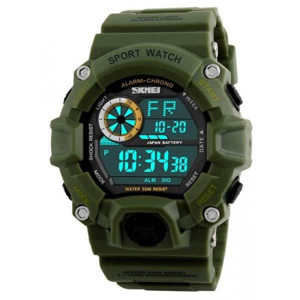 SKMEI DG1019 Dark Green Rubber Strap Watch For Men - Watchportal Philippines