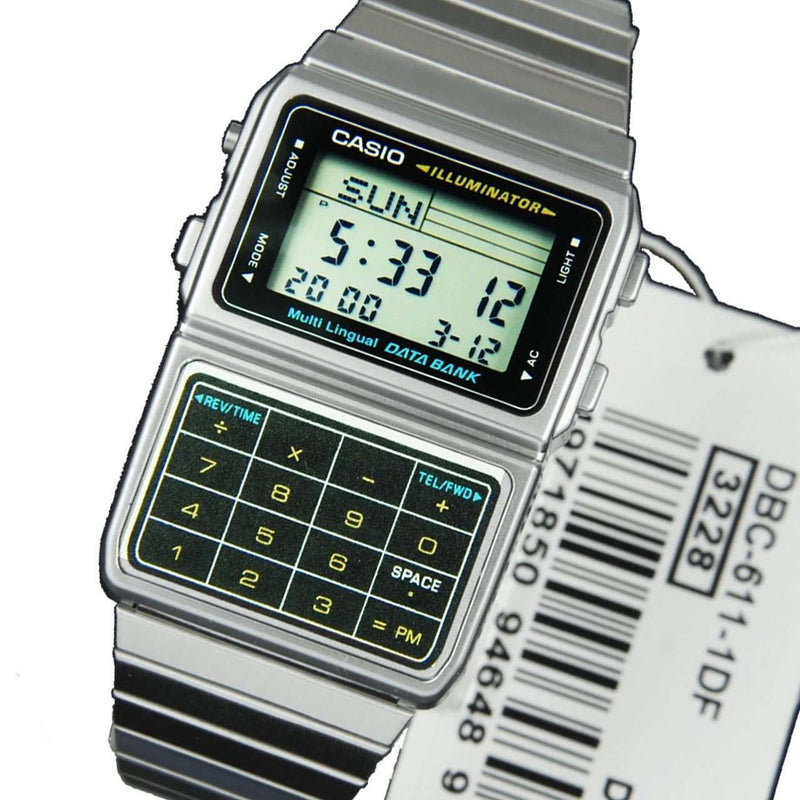 Casio DBC-611-1D Silver Stainless Calculator Watch for Men and Women