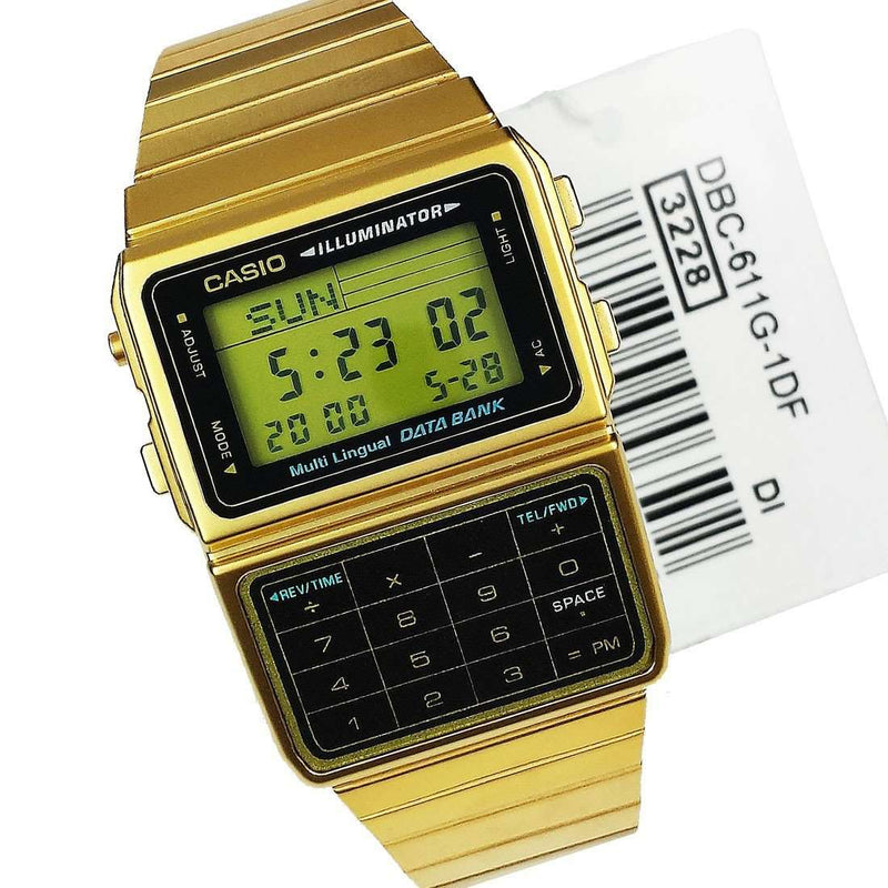 Casio DBC-611G-1DF Gold Plated Calculator Watch For Men and Women