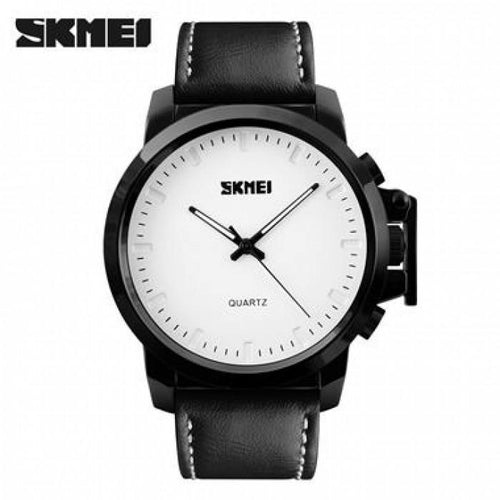SKMEI 1208CL White with Black Leather Strap Watch for Men - Watchportal Philippines