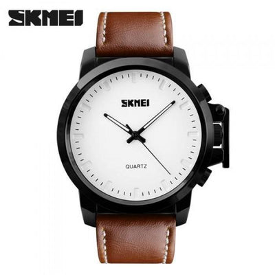 SKMEI 1208CL White with Brown Leather Strap Watch for Men - Watchportal Philippines