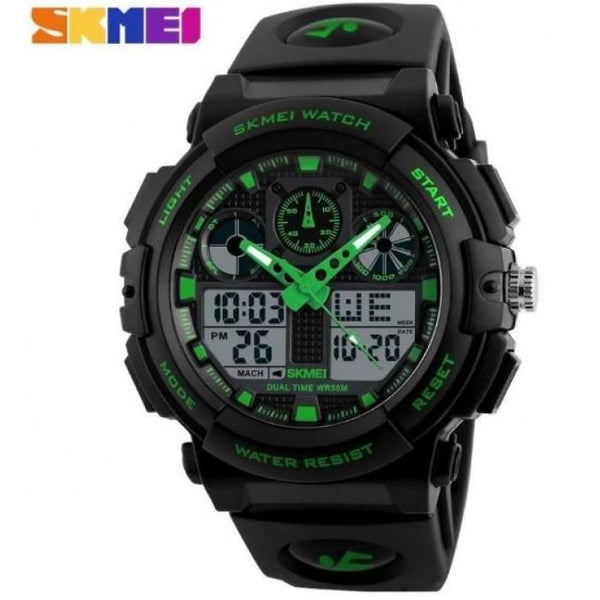 SKMEI 1270 Green with Rubber Strap Watch for Men - Watchportal Philippines