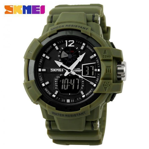 SKMEI AD1040 Army Green Rubber Strap Watch for Men - Watchportal Philippines