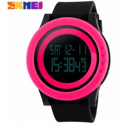 SKMEI DG1142 Pink with Black Silicon Strap Watch for Men and Women - Watchportal Philippines