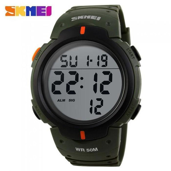 SKMEI DG1068 Dark Green Rubber Strap Watch for Men and Women - Watchportal Philippines