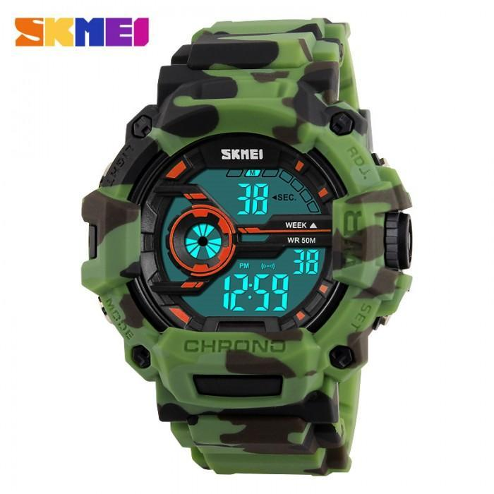 SKMEI DG1233 Camo Green Rubber Strap Watch For Men - Watchportal Philippines