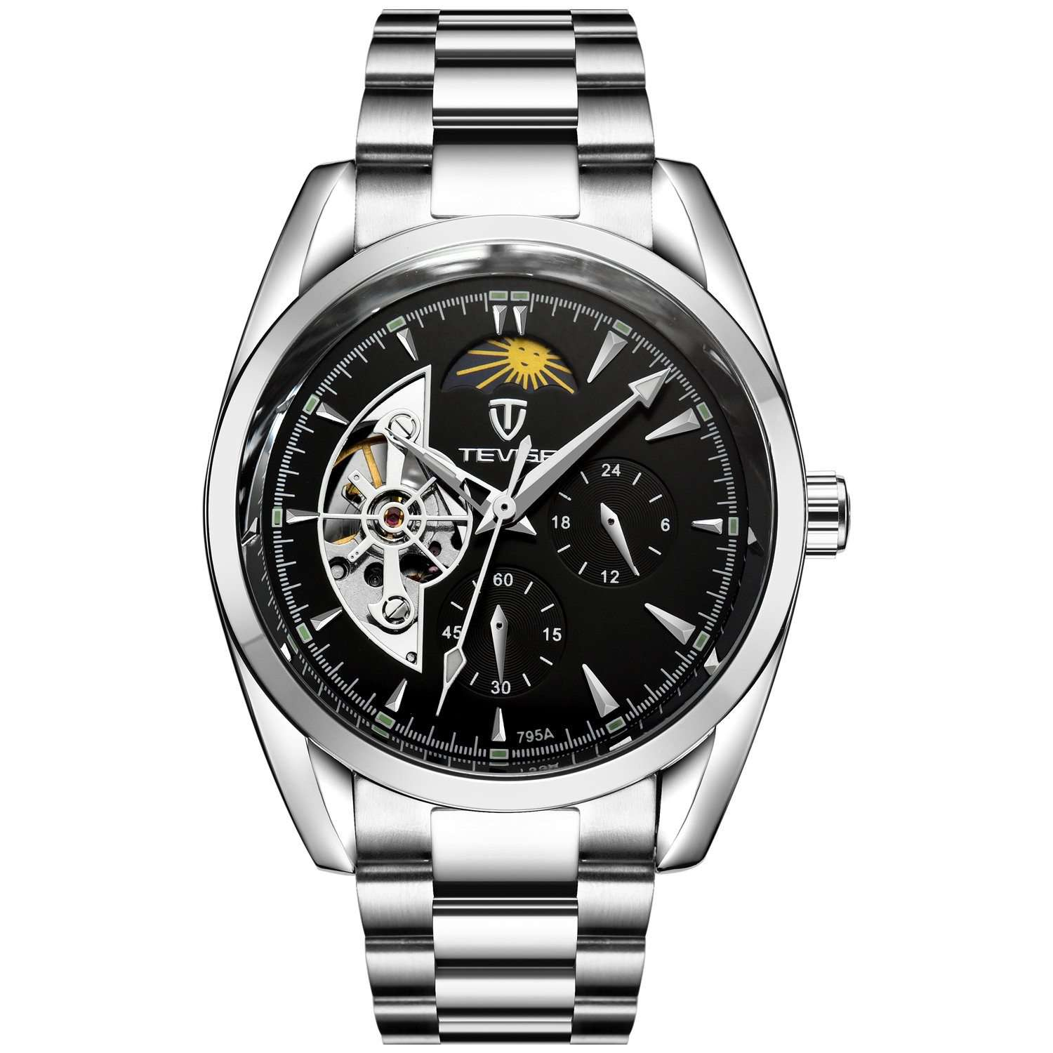 TEVISE 795A Silver/Black Automatic Men's Watch