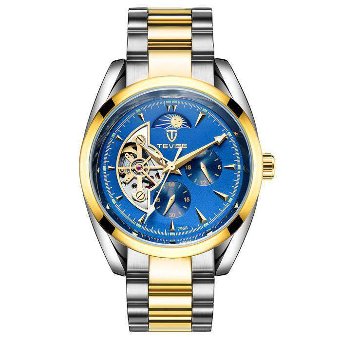 TEVISE 795A Mix Gold/Blue Automatic Men's Watch