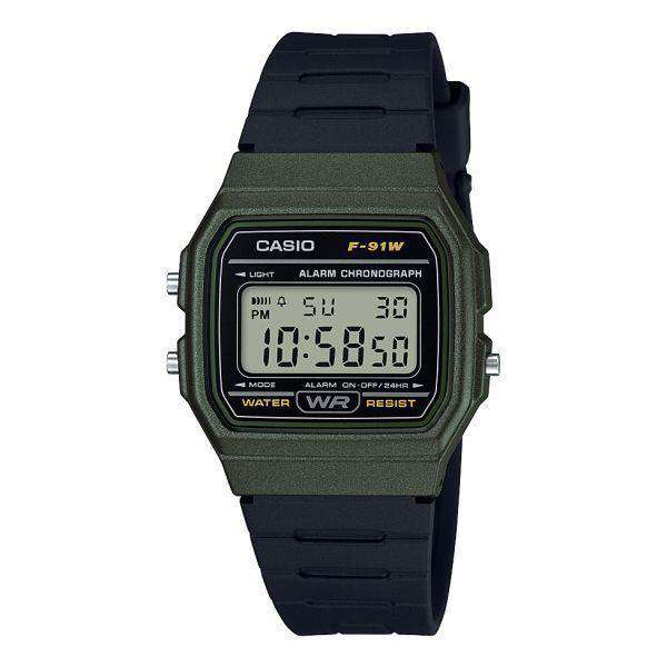 Casio F-91WM-3ADF Army Green Resin Watch for Men and Women