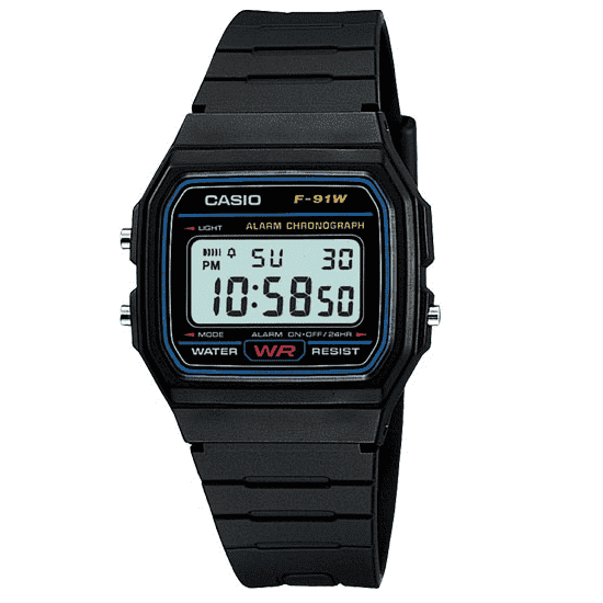 00a56ca21c69 Casio F-91W-1D Black Resin Strap Watch for Men and Women - Watchportal