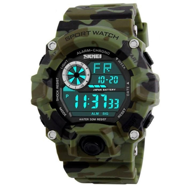SKMEI DG1019 Camo Green Rubber Strap Watch For Men - Watchportal Philippines