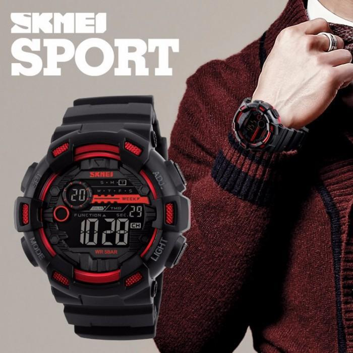 SKMEI 1243 Red with Rubber Strap Watch for Men - Watchportal Philippines