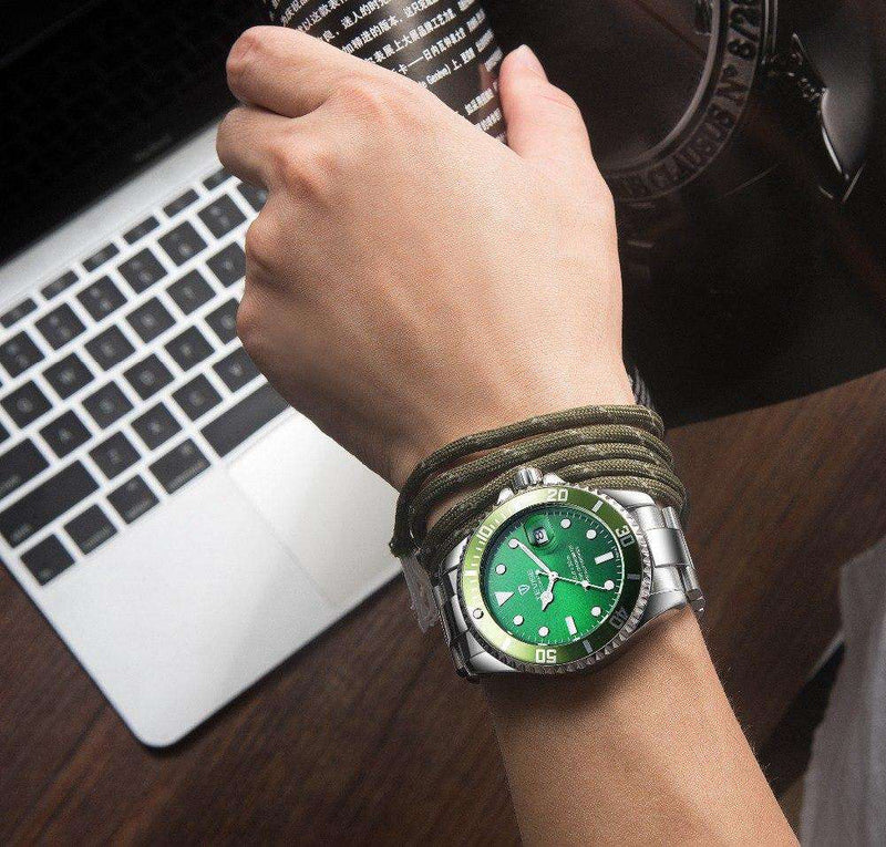 TEVISE T801A Silver/Green Automatic Men's Watch