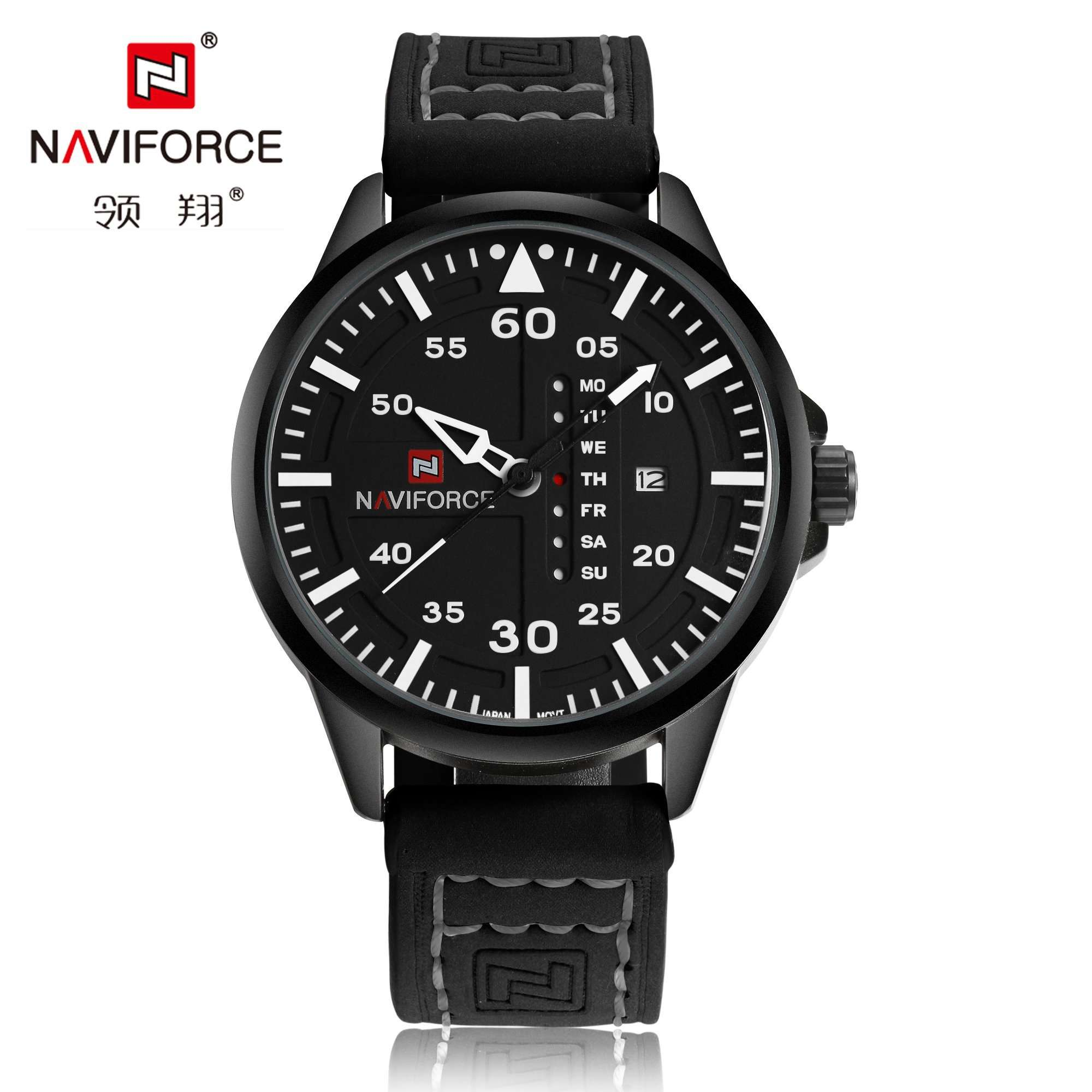 Naviforce NF9074-BWB Leather Mens Watch