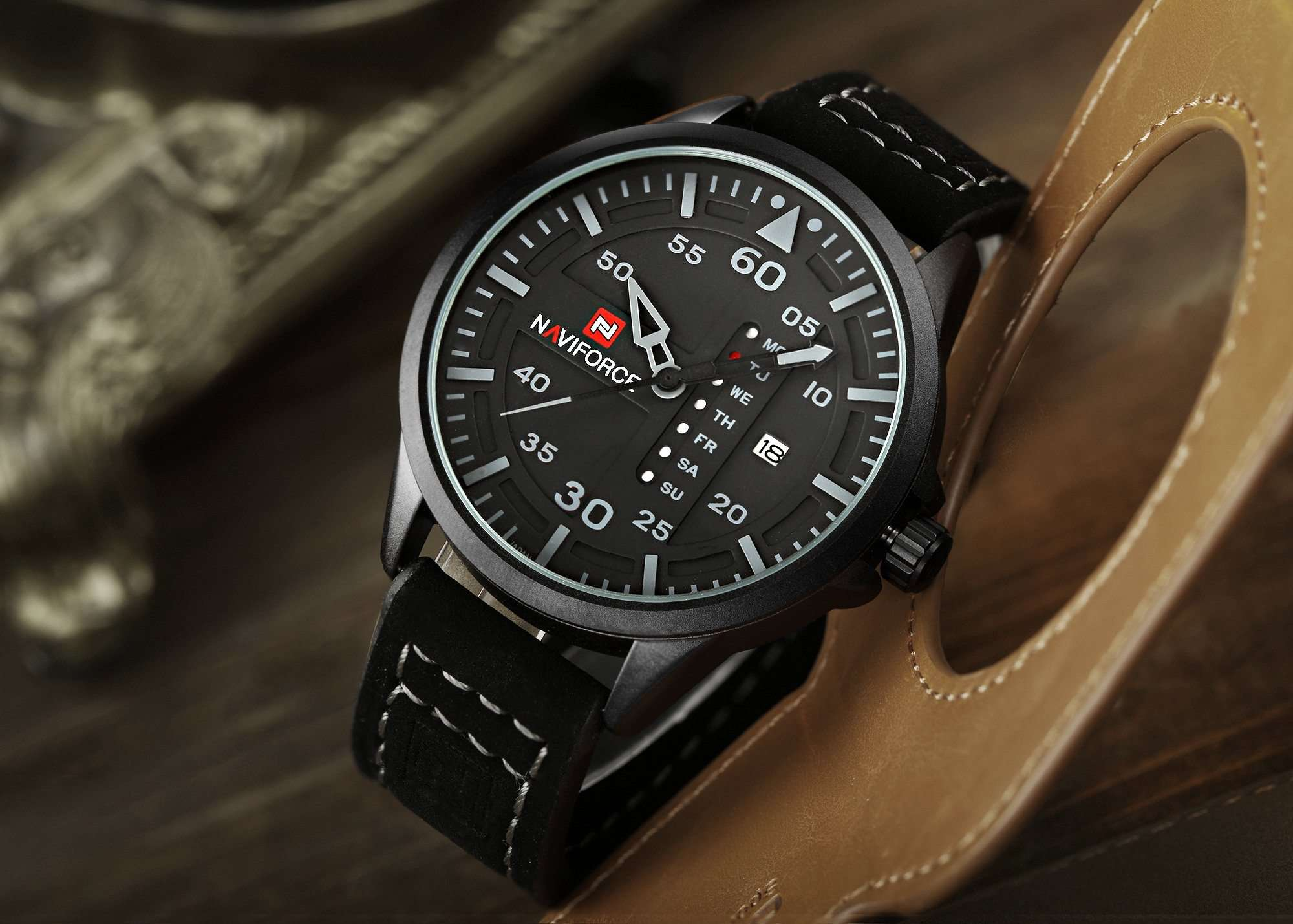 Naviforce NF9074-BGYB Leather Mens Watch
