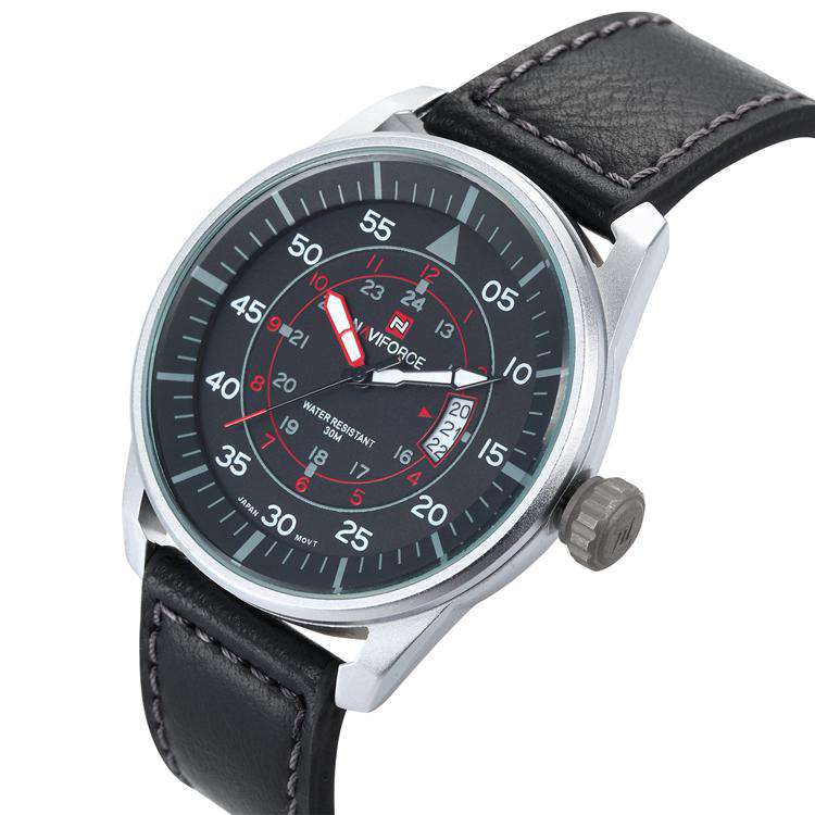 Naviforce NF9044-SBR Leather Mens Watch