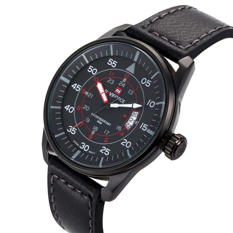 Naviforce NF9044-BBR Leather Mens Watch