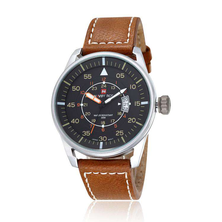 Naviforce NF9044-SBY Leather Mens Watch