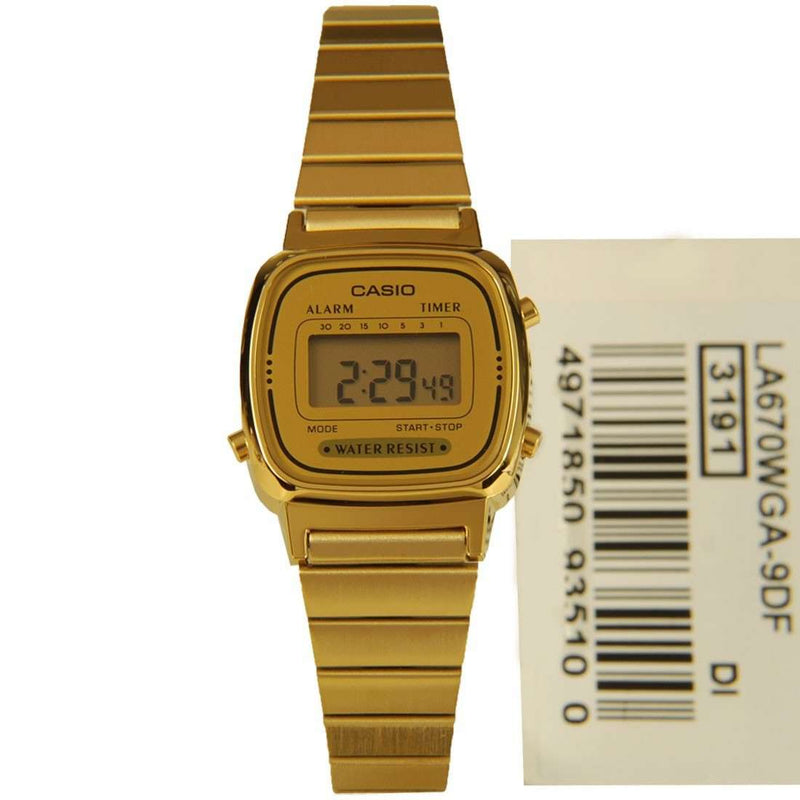 Casio Vintage LA670WGA-9D Gold Plated Watch for Women