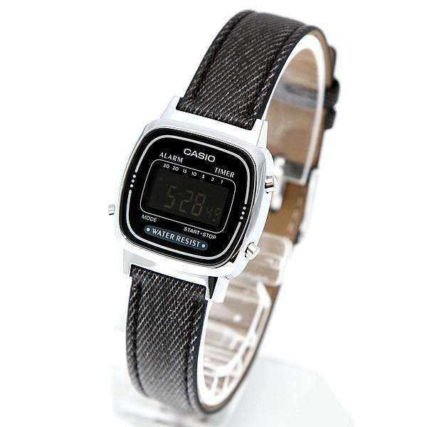 Casio LA670WL-1BDF Black Leather Denim Strap Watch for Women