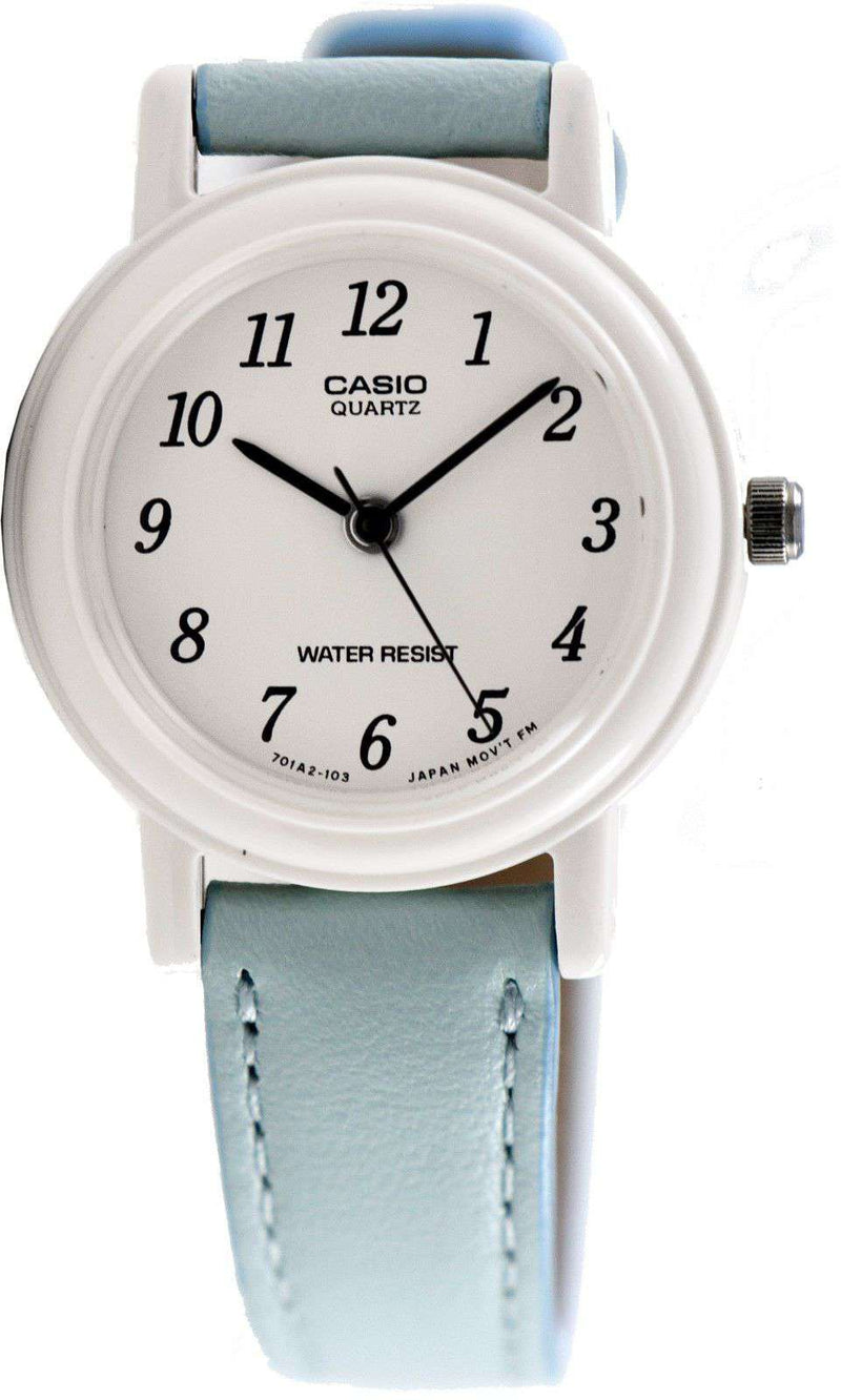 Casio LQ-139L-2B Blue Leather Strap Watch for Women