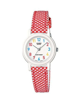 Casio LQ-139LB-4B Red Leather Strap Watch for Women