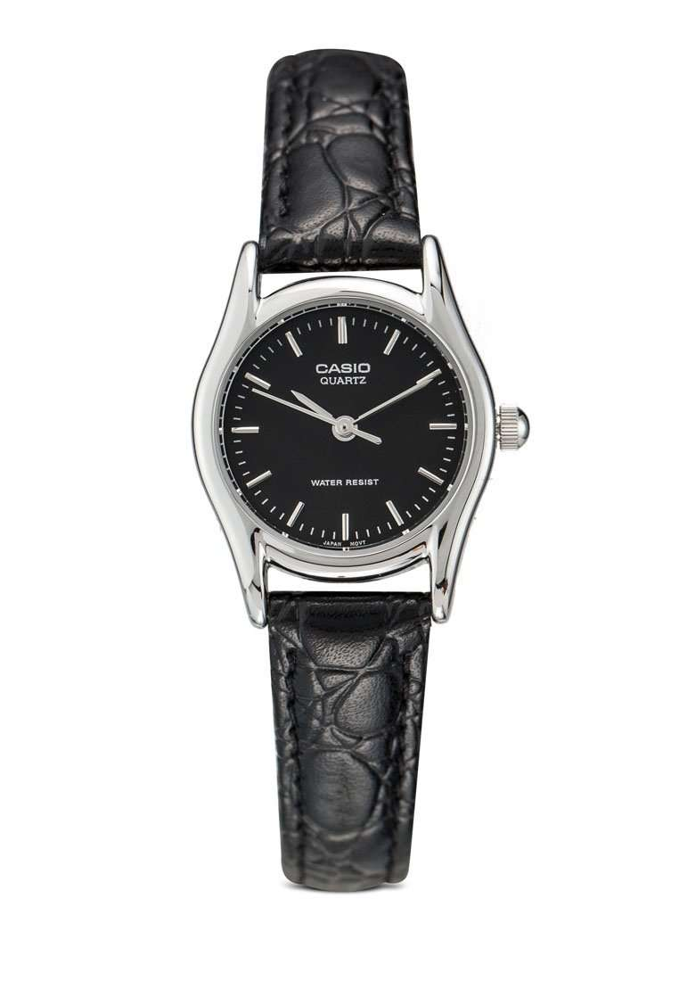 Casio LTP-1094E-1ARDF Black Leather Strap Watch for Women