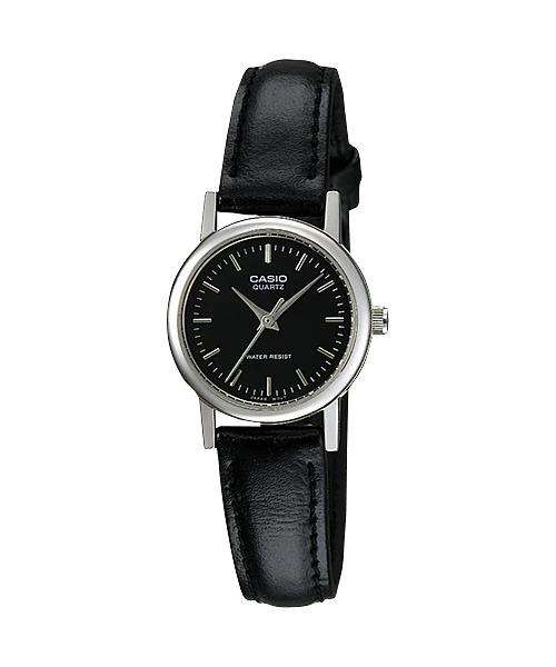 Casio LTP-1095E-1ADF Black Leather Strap Watch for Women