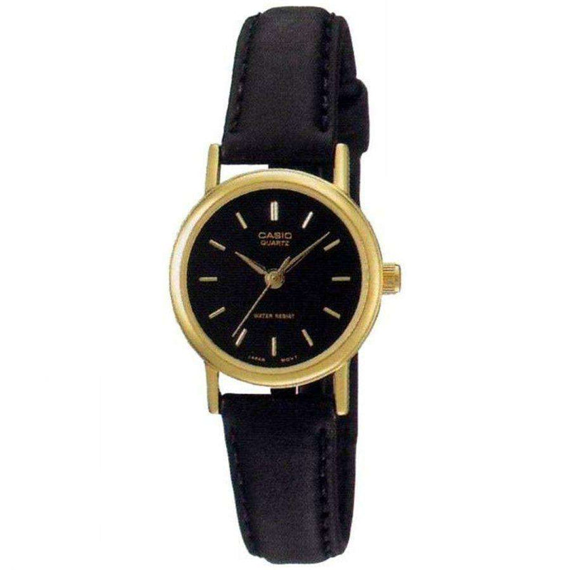 Casio LTP-1095Q-1AD Black Leather Strap Watch for Women