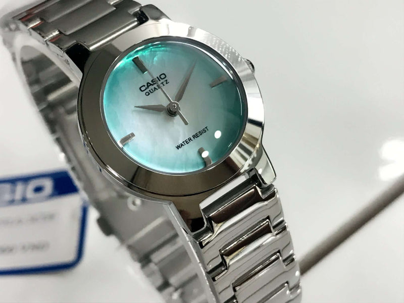 Casio LTP-1191A-3C Silver/Green Stainless Steel Watch for Women