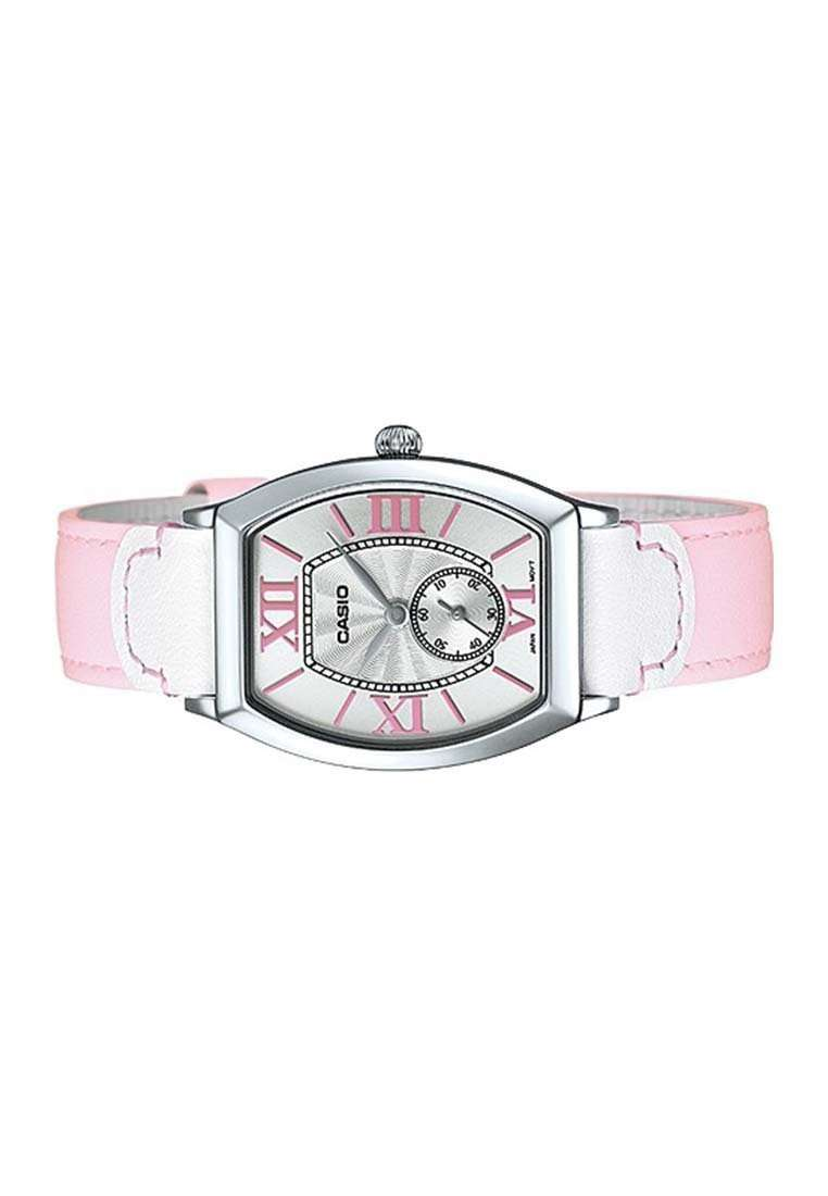 Casio LTP-E114L-4A1DF Pink Leather Strap Watch for Women