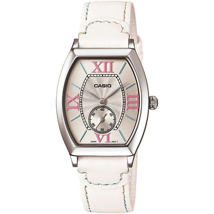 Casio LTP-E114L-7ADF White Leather Strap Watch for Women