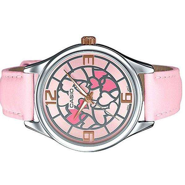 Casio LTP-E128L-4A Pink Leather Strap Watch for Women