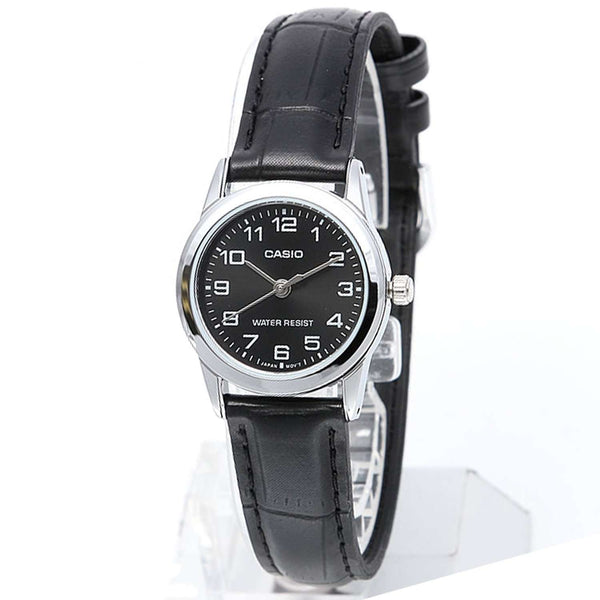 Casio LTP-V001L-1B Black Leather Watch for Women