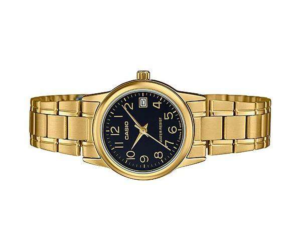 Casio LTP-V002G-1B Gold Stainless Steel Strap Watch for Women