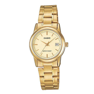 Casio LTP-V002G-9A Gold Stainless Steel Strap Watch for Women
