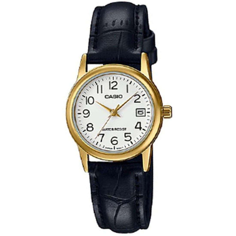 Casio LTP-V002GL-7B2 Black Leather Strap Watch for Women