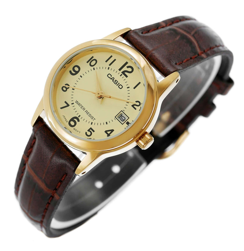 Casio LTP-V002GL-9B Brown Leather Strap Watch for Women