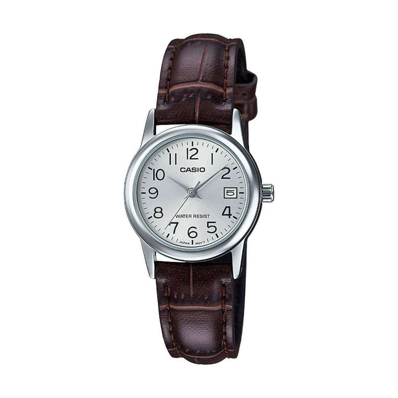 Casio LTP-V002L-7B2 Brown Leather Strap Watch for Women