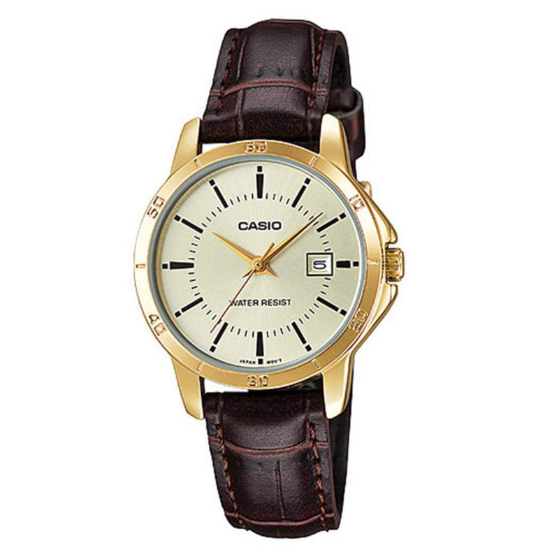 Casio LTP-V004GL-9A Brown Leather Strap Watch for Women